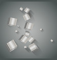 metal cubes with long shadows on a metallic gray vector image