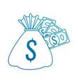 money bag with bills vector image