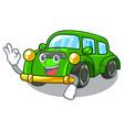 okay miniature classic car in shape characters vector image