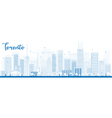 Outline Toronto skyline with blue buildings vector image vector image
