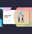 people communicating landing page template man vector image
