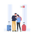 people find route to board in airport terminal vector image