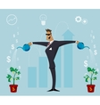 Person watering growing plant with money flowers vector image