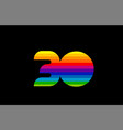 rainbow color colored colorful number 30 logo vector image vector image