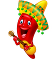 Red Chili Pepper Cartoon Character With Mexican Ha vector image vector image