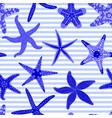 Sea stars seamless pattern marine striped vector image