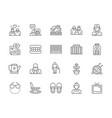 set nursing home line icons pensioners vector image
