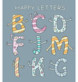 Set of bright cartoon letters with hands on a dark vector image vector image