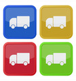 set of four square icons with lorry car vector image vector image
