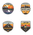 set of vintage hand drawn travel logos hiking vector image vector image