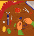 sewing and crafting banner with sewing tools flat vector image