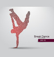 silhouette a break dancer from triangles vector image vector image