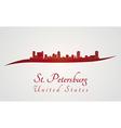St Petersburg skyline in red