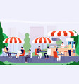 summer outdoor cafe people sitting at table in vector image