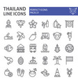 thailand line icon set thai symbols collection vector image vector image