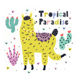 tropical paradise card with a cute llama summer vector image vector image