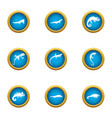 viviparous lizard icons set flat style vector image