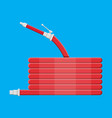 water hose to extinguish the fire fire equipment vector image vector image