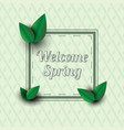 welcome spring text in a frame with decor vector image vector image