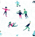 winter seamless pattern with skating people vector image vector image