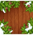 Christmas tree frame on wooden background vector image
