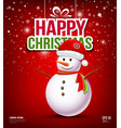 Snowman have Hat red Santa Claus on red background vector image