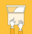 Hands with laptop Flat lineal style vector image
