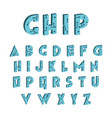 3d tech font digital hi-tech alphabet vector image