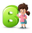 alphabet b with cute girl waving