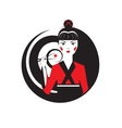 beautiful oriental girl holding sushi maki vector image vector image