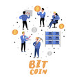 bitcoin concept with flat cartoon characters vector image vector image
