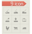 black farming icons set vector image vector image