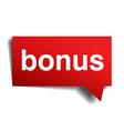 Bonus red 3d realistic paper speech bubble vector image vector image