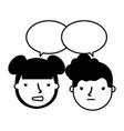 boy and girl sad emotion speech bubble vector image