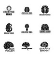brain work logo set simple style vector image