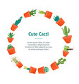 cartoon funny cactus characters banner card circle vector image vector image