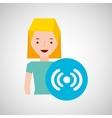 cartoon girl wireless wifi design vector image vector image