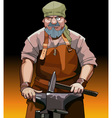 cartoon male blacksmith worker with hammer vector image
