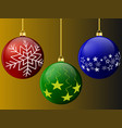 christmas balls of red green and blue with pattern vector image vector image