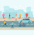 cityscape with people riding various urban vector image vector image