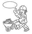 Coloring book of funny worker with cart vector image vector image