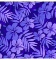 Dark blue tropical flowers seamless pattern vector image vector image