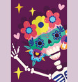day dead skeleton flowers mask decoration vector image vector image