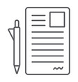 document and pen thin line icon office and paper vector image vector image