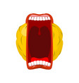 emoticon screams open mouth and teeth crazy emoji vector image vector image
