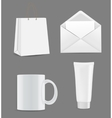 Empty Shopping Bag Envelope and Cup for vector image