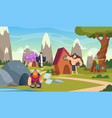 fairytale background funny cartoon houses vector image vector image