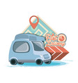 fast delivery service with van travel vector image vector image