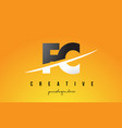 fc f c letter modern logo design with yellow vector image
