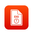 file exe icon digital red vector image vector image
